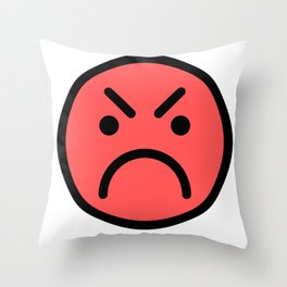 Smiley Face   Red Angry Face Throw Pillow