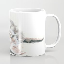 Cute Maine Coon Kitten Playing Coffee Mug