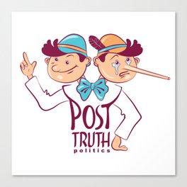 Cartoon illustration of Post-truth politics. Canvas Print