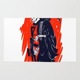 Military skeleton - grim soldier - gothic reaper Rug