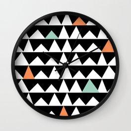 Tribal Triangles, Geometric Aztec Andes Pattern Wall Clock
