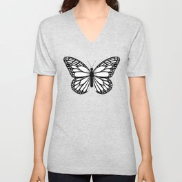 Monarch Butterfly - Black and White Color Palette Unisex V-Neck