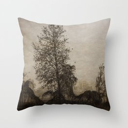 barren tree in the fog Throw Pillow