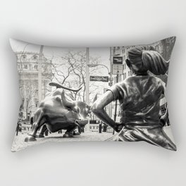 Fearless Girl & Bull - NYC Rectangular Pillow