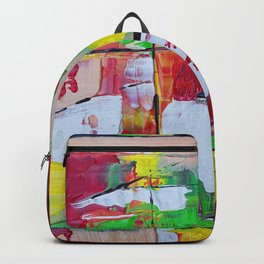 Boxed In - Green Red and Yellow Abstract Painting Backpack
