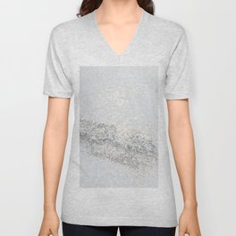 Silver Gray Glitter #3 #shiny #decor #art #society6 Unisex V-Neck