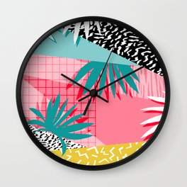 Bingo - throwback retro memphis neon tropical socal desert festival trendy hipster pattern pop art Wall Clock