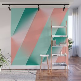 Soft Pink Peach Amber Yucca and Arbor Green Seamless Ombre Wall Mural