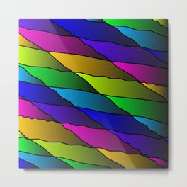 Slanting rainbow lines and rhombuses on pink with intersection of glare. Metal Print