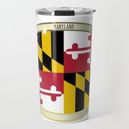 Maryland State Flag Oval Button Travel Mug