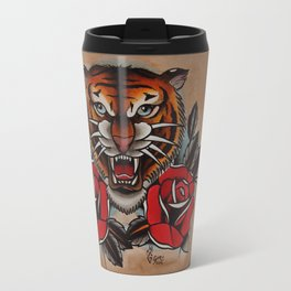 Old School Tiger and roses - tattoo Travel Mug
