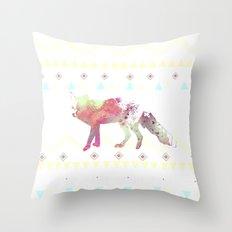 Watercolor native fox Throw Pillow