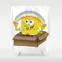spongebob Shower Curtains featuring spongebob squarepants imagination by aceofspades81