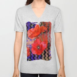 Summer Joy, abstract waves with poppies Unisex V-Neck