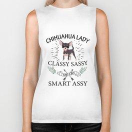 chihuahua lady classy sassy and a bit smart assy dog cat Biker Tank