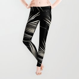 White Gold Palm Leaves on Black Leggings