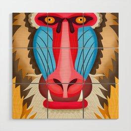 Baboon Head Wood Wall Art