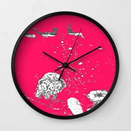 Two Tailed Duck and Jellyfish Bright Red Pink Wall Clock