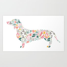 Dachshund Floral Watercolor Art Art Print