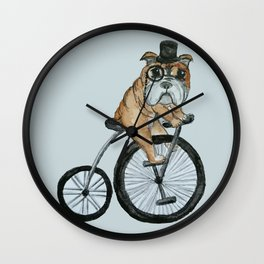 English Bulldog Riding a Penny-farthing Wall Clock