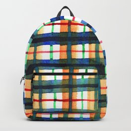 Retro Watercolor Plaid Backpack
