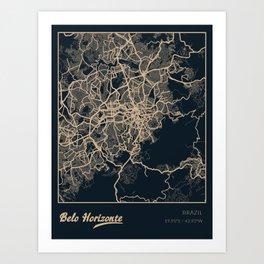 Belo Horizonte Brazil City Map Art Print
