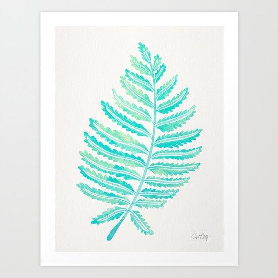 Fern Leaf – Turquoise Palette Art Print