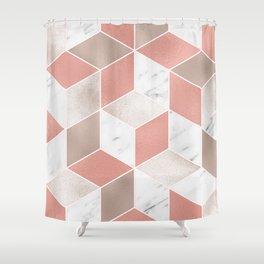Summer peach marble geometry Shower Curtain