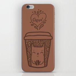 Doodle coffee cat iPhone Skin