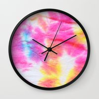 tie dye Wall Clocks featuring Tie Dye  by Lara Gurney