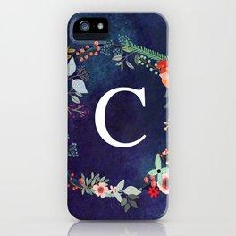 Personalized Monogram Initial Letter C Floral Wreath Artwork iPhone Case