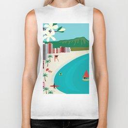 Oahu, Hawaii - Skyline Illustration by Loose Petals Biker Tank