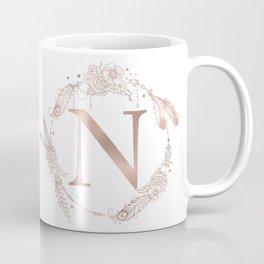 Letter N Rose Gold Pink Initial Monogram Coffee Mug