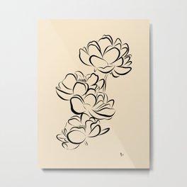Four Flowers (Black on Cream) Metal Print