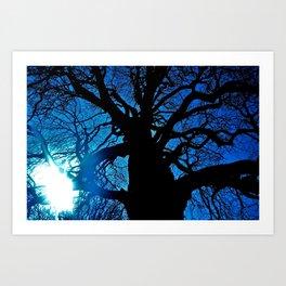Dark Blue Tree Art Print