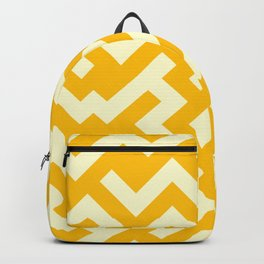 Cream Yellow and Amber Orange Diagonal Labyrinth Backpack