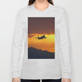 Airliner Sunset Takeoff Long Sleeve T-shirt