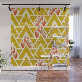Triangles and lines in yellow Wall Mural