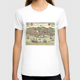 Vintage Map of Lisbon Portugal (1598) T-shirt