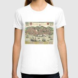 Vintage Map of Lisbon Portugal (1598) T-shirt