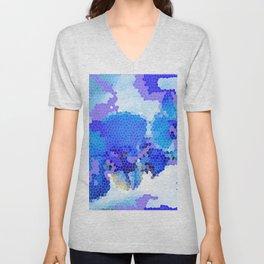 Blue Abstract Unisex V-Neck
