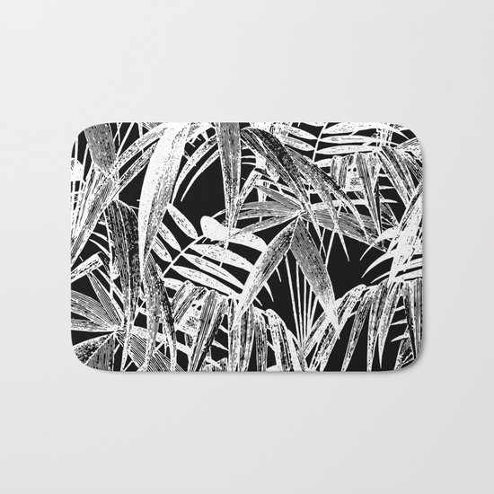 Black and White Vintage Tropical Palm Leaf Pattern Bath Mat