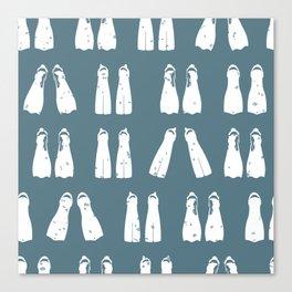 Denim Blue and White Scuba Fins Pattern Canvas Print