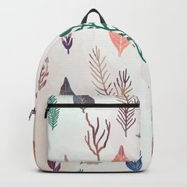 Mix of plants and watercolor leaves Backpack