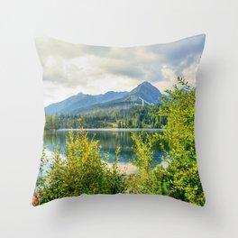 Strbske Pleso in High Tatras mountains Throw Pillow