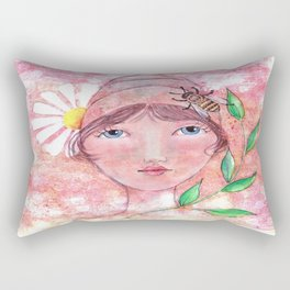 Whimiscal Girl with Bee Hive Hat Rectangular Pillow