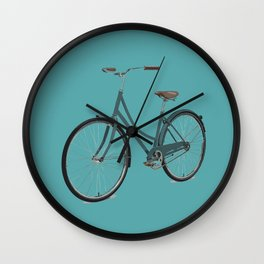 Teal Blue Retro Bicycle Mint Turquoise  Wall Clock