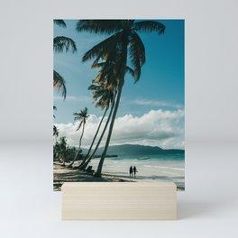 Tropical Island life - Palmtrees in the wind, Samana, Dominican Republic (Caribbean) | Island Travel Photography Mini Art Print