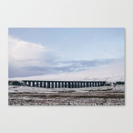 Snow and Moon over the Ribblehead Viaduct. Settle to Carlisle Railway, North Yorkshire, UK. Canvas Print