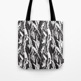 Inner Jungle in Black and White Tote Bag